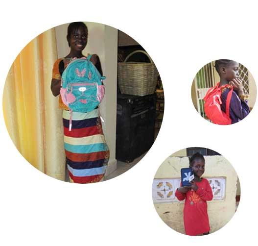 jeva donerer skoletasker til mange fattige lande