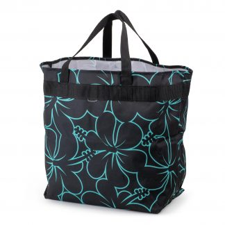 Shopping bag in nylon, HOLD-ALL from JEVA, black with a hibiscus pattern