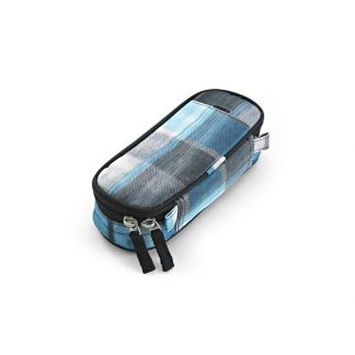 pencil case with squares in blue and black/white from JEVA