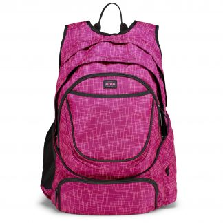big pink rucksack with insulated 17.3 laptop compartment