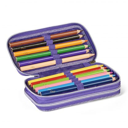 twozip pencil case with coloured pencils
