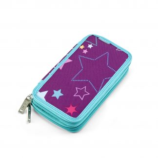 pencil case with content Purple Stars TWOZIP from JEVA