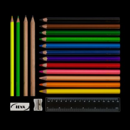 ergonomic pencils are part of the contents in a pencil case from JEVA