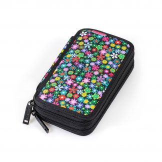 double pencil case with flowers