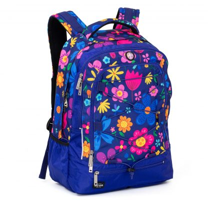 backpack made in cobalt blue polyester with a beautiful and colourful flower pattern