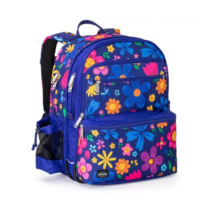 school rucksack in waterproof cobalt blue polyester with a beautiful and colourful flower pattern