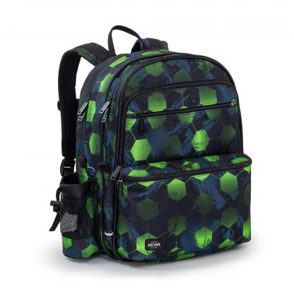 school bag in waterproof polyester featuring a cool neon coloured cube pattern