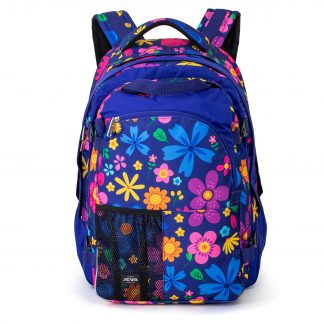 large rucksack for a girl - blue with flowers