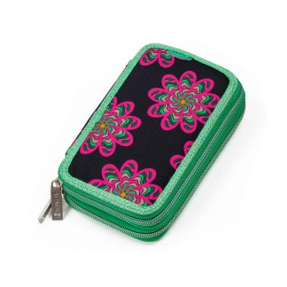 pencil case with pink flowers