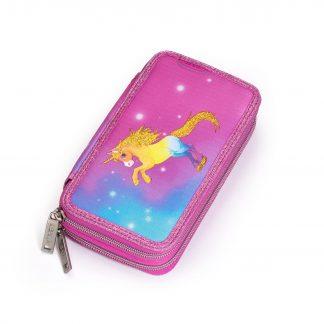 Double pencil case with unicorn