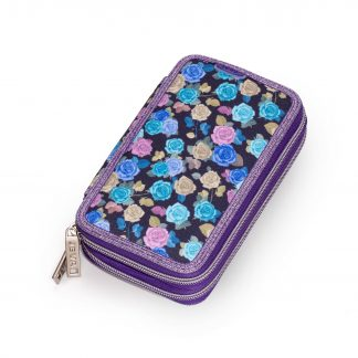pencil case with rose pattern and glitter