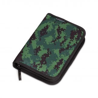 pencil case with pixelated camouflage