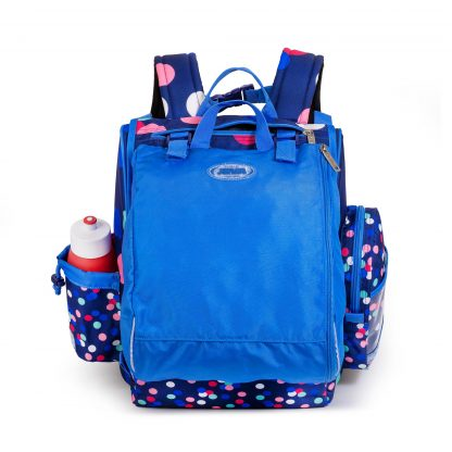 the sports bag attached to the schoolbag