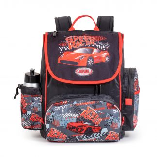 schoolbag including sports bag and drinking bottle