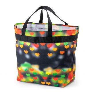 JEVA shopping bag, HOLD-ALL with a heart pattern in fresh colours