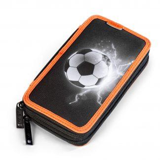 JEVA double pencil case with football print