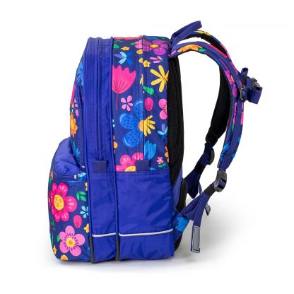 Seaflowers SQUARE scholl bag seen from the side
