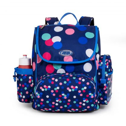 schoolbag with sports bag and drinkingbottle