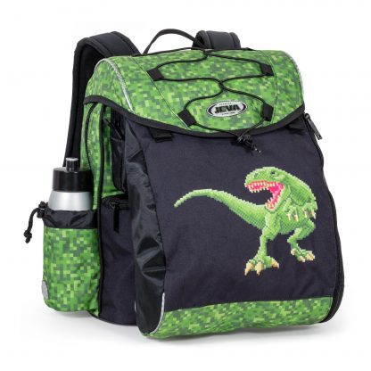 green and black schoolbag with dinosaur