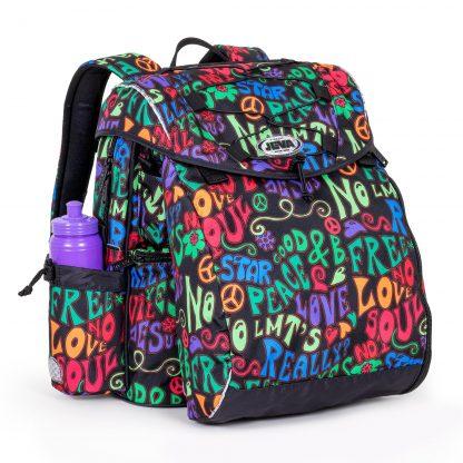 beautiful schoolbag with flower power pattern
