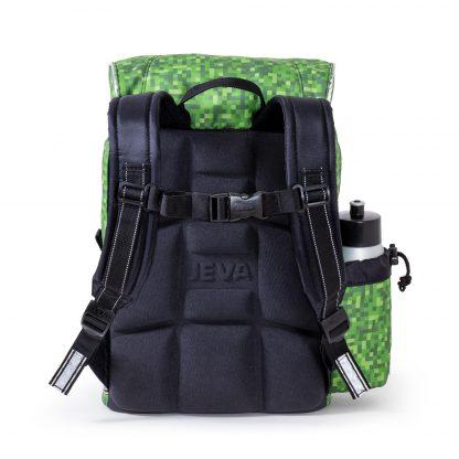 the schoolbag has an ergonomic back