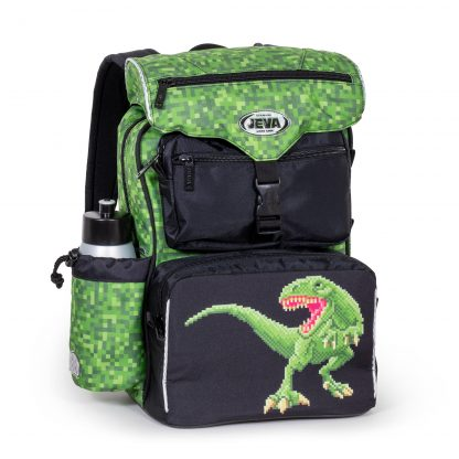 black and green Schoolbag with dino