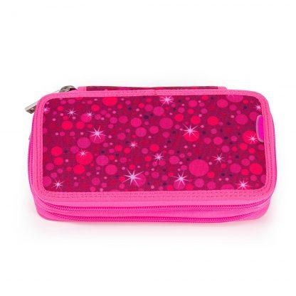 pink pencil case witn writing utensils
