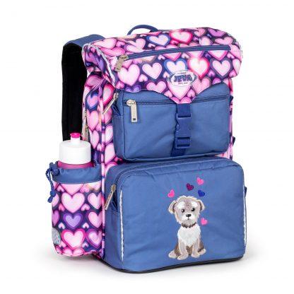 Beginners schoolbag with a dog print and hearts