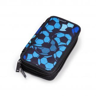 pencil case with blue footballs